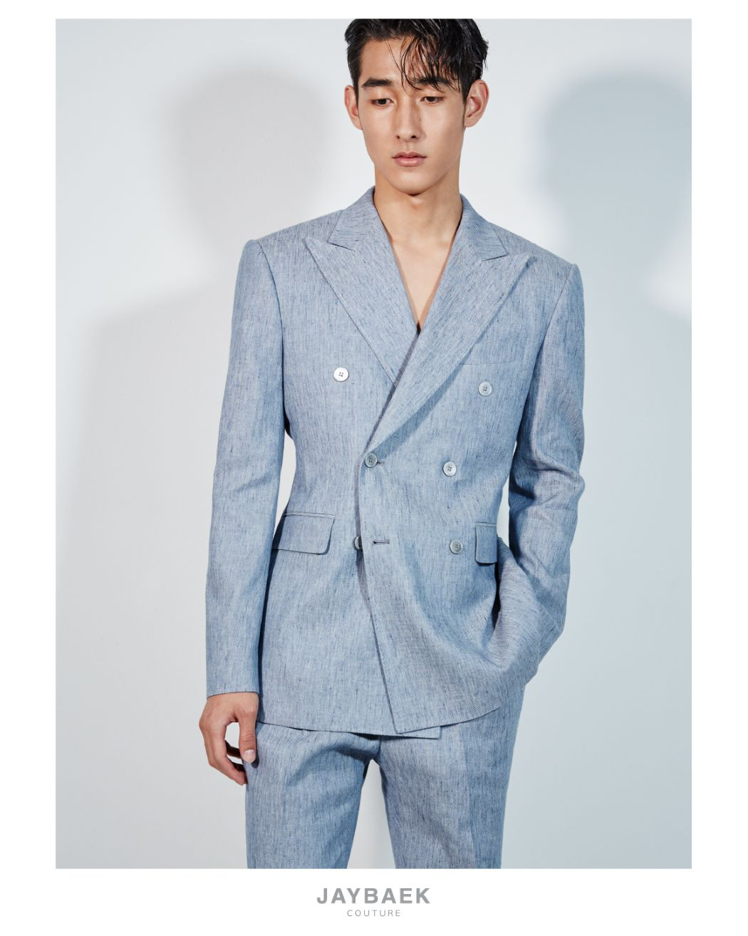 LIGHT BLUE DOUBLE BREASTED LINEN JACKET