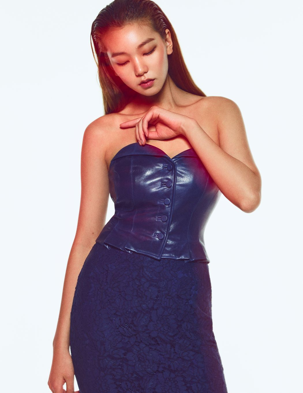 DARK BLUE SHAWL COLLAR LAMB-SKIN BUSTIER