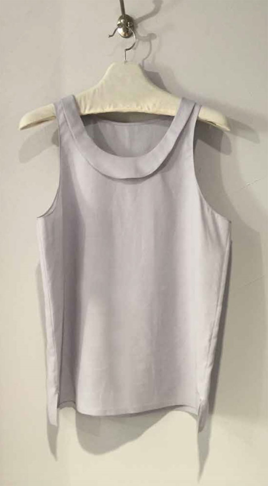 LIGHT BLUE LINEN SHAWL COLLAR SLEEVELESS TOP