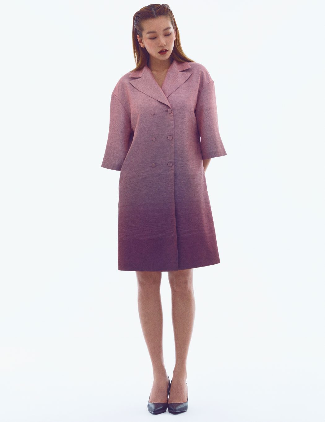 PINK GRADATION SHIRT-DRESS