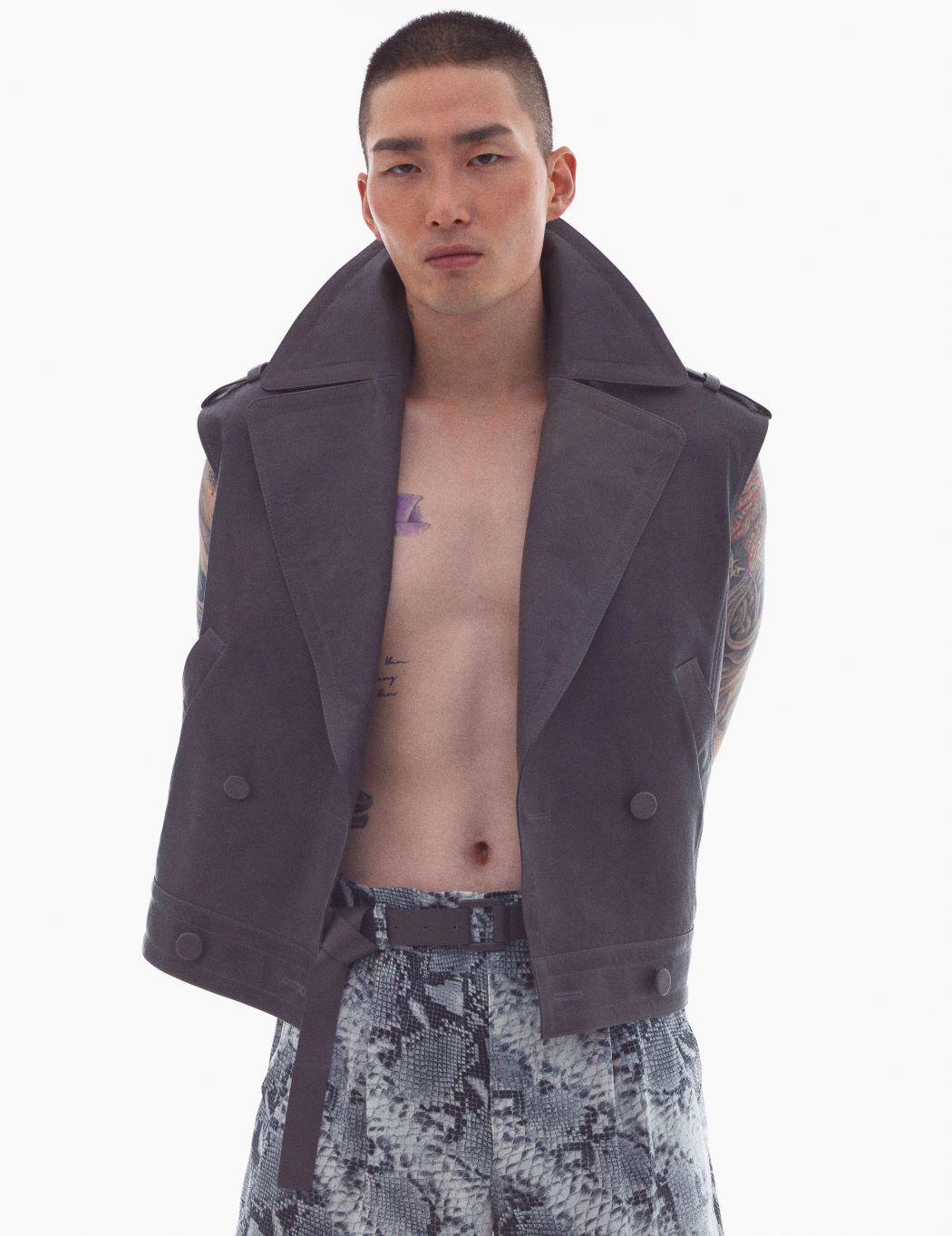 GRAY LAMB-SKIN DOUBLE BREASTED VEST