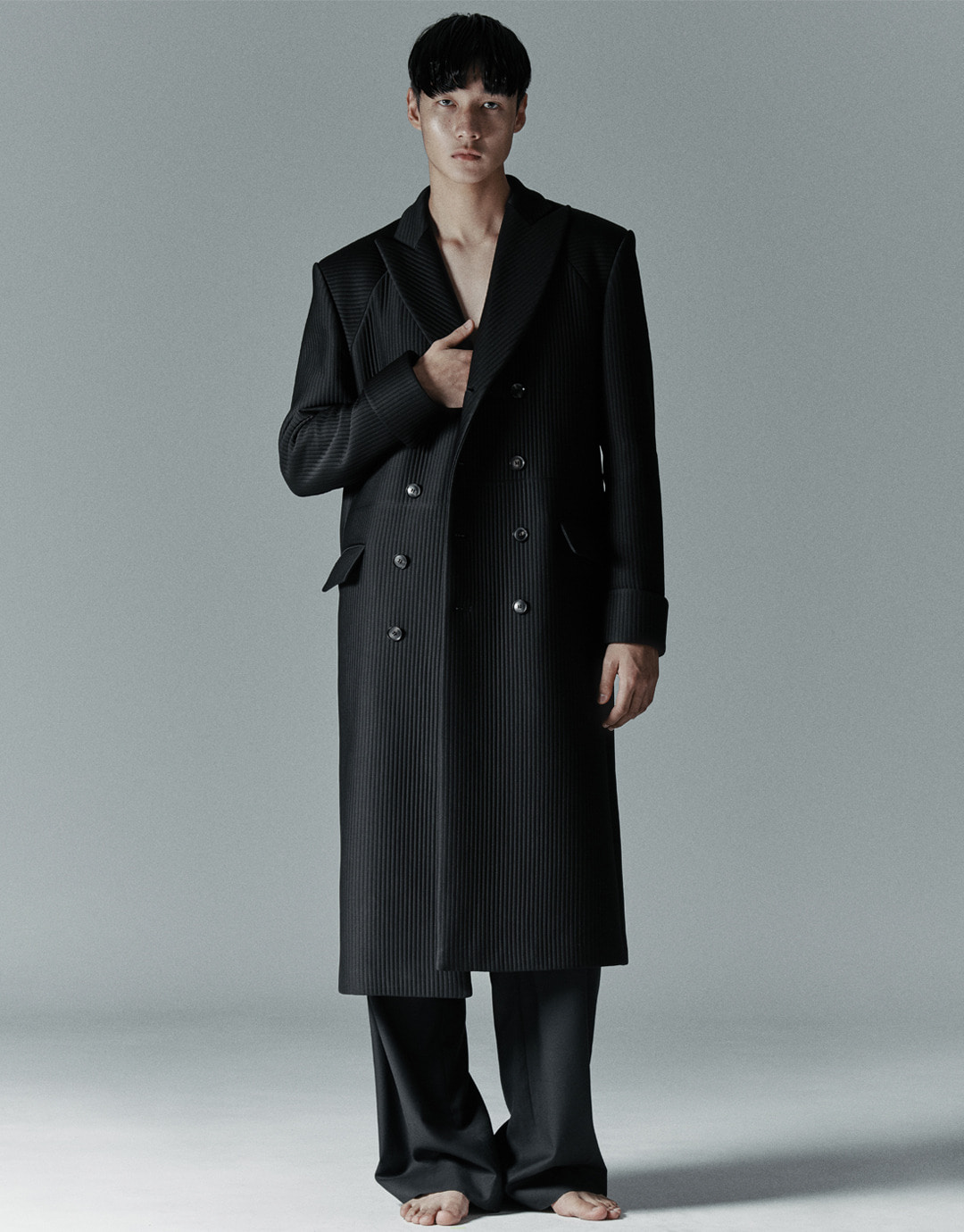 BLACK QUILTED TAILORED COAT