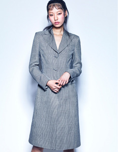BLACK&WHITE CHECK WOOL-LINEN TAILORED DRESS