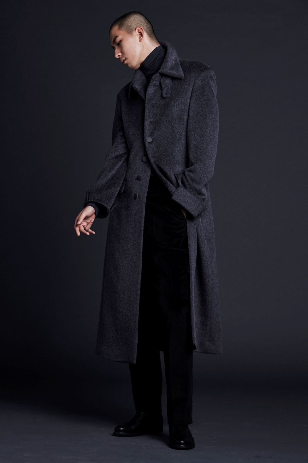 DARK GRAY ALPACA LONG COAT