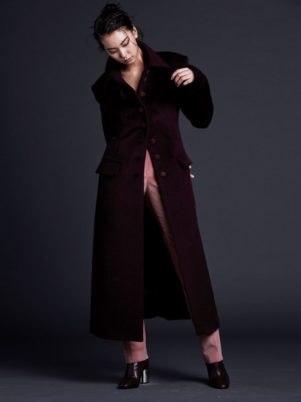 BURGUNDY ALPACA LONG COAT