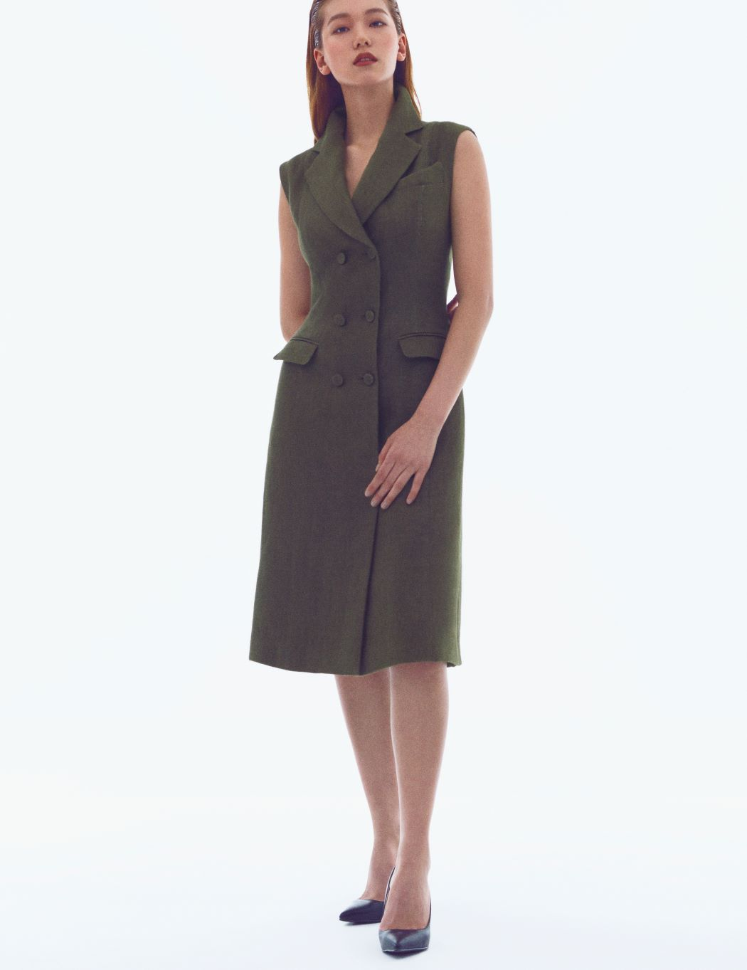 KHAKI LINEN DOUBLE BREASTED DRESS