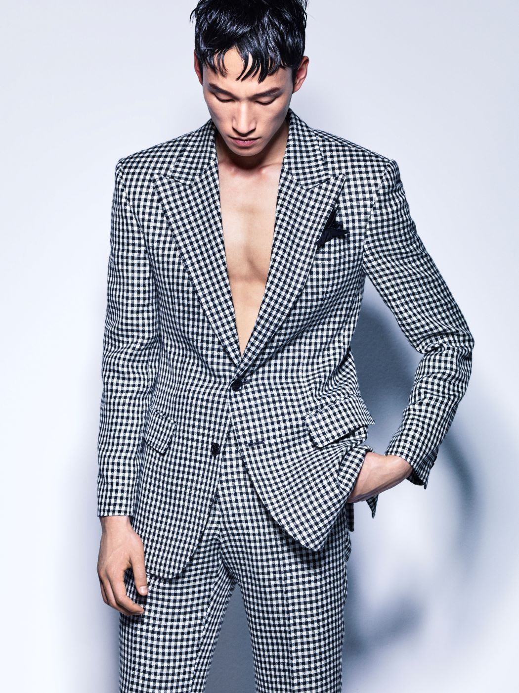 BLACK&WHITE GINGHAM CHECK WOOL LINEN JACKET