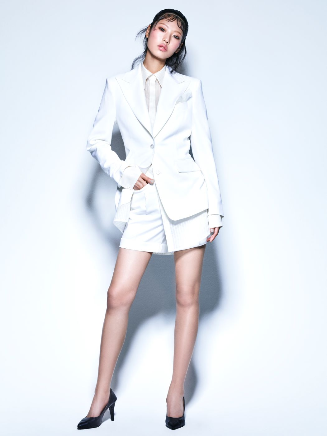 WHITE COOL WOOL SINGLE JACKET