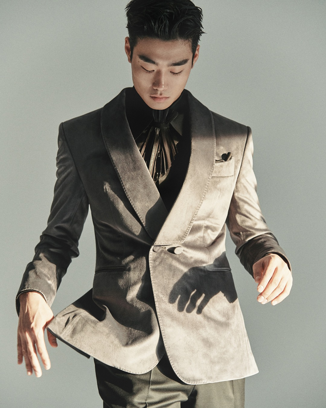 GREY VELVET DOUBLE SHAWL COLLAR TUXEDO JACKET