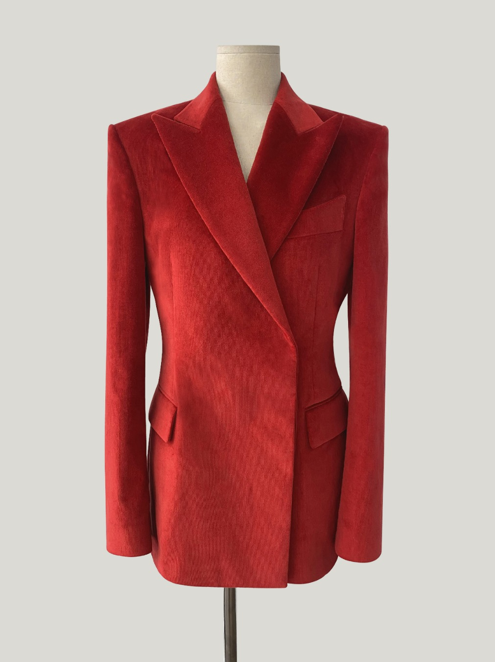 RED CORDUROY VELVET DOUBLE BREASTED HIDDEN-BUTTON JACKET
