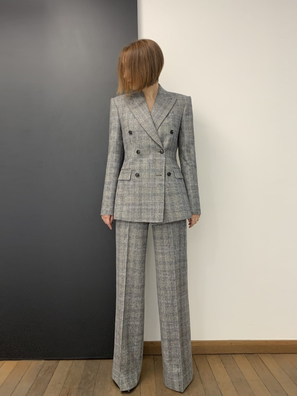 GRAY-BLUE GLEN CHECK PANTS