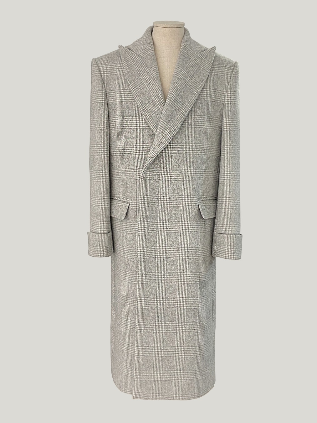 GRAY GLEN CHECK HIDDEN-BUTTON COAT