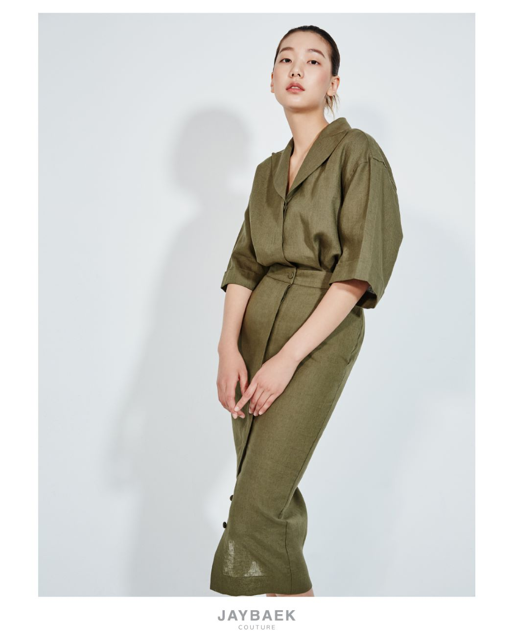 OLIVE GREEN PICKED LAPEL LINEN SHIRT