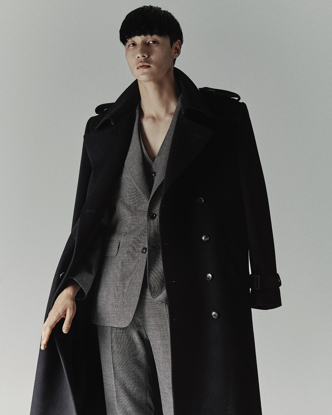 VIOLET WOOL DOUBLE TRENCH COAT