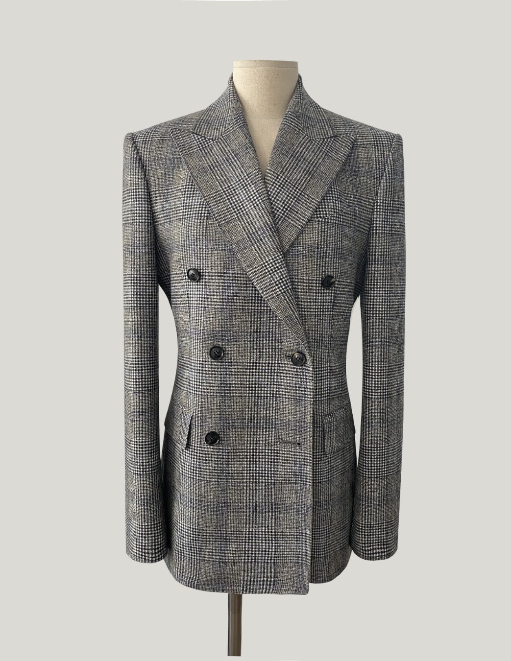 GRAY-BLUE GLEN CHECK DOUBLE BREASTED JACKET